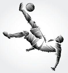 Soccer Tattoos, Football Tattoo, Football Art, Soccer Silhouette, Soccer Drawing, Soccer Art, Scribble Art, A Level Art, Sports Art