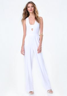 d8a4a57558b Peace + Love White Jersey Cape Plunge Jumpsuit