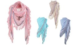Yehwang scarf with fringes, aztec ribbon and sequin Bull. www.yehwang.com