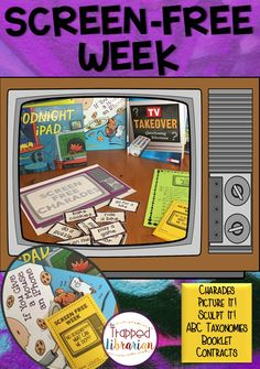 Screen Free Week (Formerly TV Turn-off Week) Activities:   Lessons, activities, and printables for Screen Free Week at your elementary school.  Click to start planning your Screen Free Week today! School Library Lessons, Elementary School Library, Library Skills, Elementary Schools, Library Activities, Social Studies Activities, Fun Activities, Teaching Resources, Library Organization
