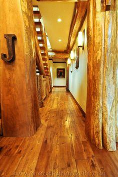 log hallway, wood floors, log stairs, log homes, pioneer log homes