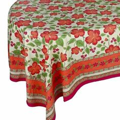 Tablecloth Pink 100% Cotton Rectangle Cover Floral Designs 228X152 cm: Amazon.co.uk: Kitchen & Home