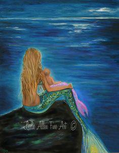 Sirena lámina sirena madre bebé sirena pared por LeslieAllenFineArt