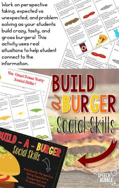 Work on perspective taking, expected vs unexpected, and problem solving as your students build crazy, tasty, and gross burgers!  This activity uses real situations to help student connect to the information.