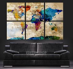colorful world map art canvas print watercolor world map 6 piece canvas art print
