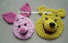 Ravelry: Bear & Piglet Appliques pattern by Knotty Hooker Designs