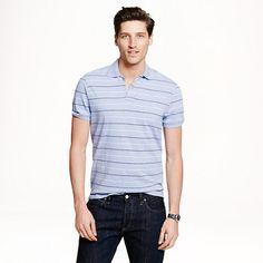 J.Crew - Textured cotton polo in peri stripe