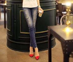 Fashionable Style Straight Leg Diamonds Broken Hole Slimming Women's Jeans, AS THE PICTURE, 26 in Denim & Jeans | DressLily.com