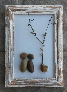 "Pebble Art Couple under a little tree in the outdoors set in a 4x6 ""open"" wood frame (FREE SHIPPING) by CrawfordBunch on Etsy"