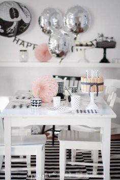 Silver and monochrome with a splash of pastel makes for the perfect party theme