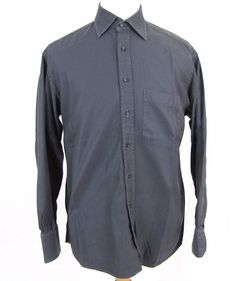 Burberry of London Dress Shirt 16.5 Large Gray Cotton Vintage 90's Spread Collar #Burberry