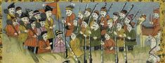 """Men with guns and clubs from 17th or 18th century manuscript copy of """"The Book of Wonders of the Age"""" (St Andrews ms32(o))"""