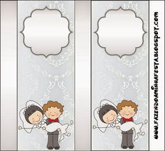 Sweet Wedding Toon Couple Free Printable Candy Bar Labels.