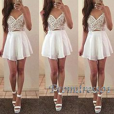 Modest short prom dresses for teens, homecoming dress 2016, maxi dress, Custom size lace chiffon party dress http://www.promdress01.com/#!product/prd1/4307753635/cute-strapless-white-chiffon-prom-dress-for-teens