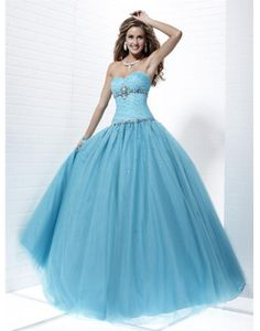 Discount Cheap Tulle Sweetheart Beading Sequin Bule Ball Gown Prom Dress Online