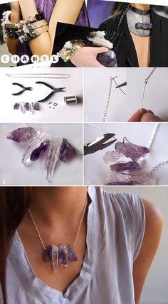 """:* L - DIY Chanel Inspired Raw Crystal Necklace [""""You will need: 16 inches of c.:* L – DIY Chanel Inspired Raw Crystal Necklace [""""You will need: 16 inches of chain; Wire Jewelry, Jewelry Crafts, Jewelery, Handmade Jewelry, Jewelry Ideas, Jewelry Closet, Rock Jewelry, Monet Jewelry, Diy Jewellery"""