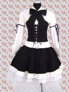 Cotton White & Black Long Sleeves Punk Style Gothic Lolita Dress