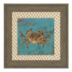 Turquoise Crab Framed Art Print | Kirklands...here's the crab to go with crawfish