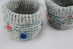 Two Handmade Crocheted Baskets