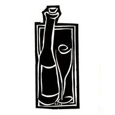 WINE original block print by carenloebelfried on Etsy, $35.00