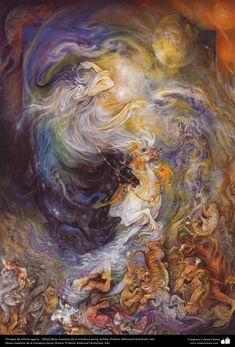 Tiempos de infinito agarre.. 1991/ Obras maestras de la miniatura persa; Artista: Profesor Mahmud Farshchian, Irán | Galería de Arte Islámico y Fotografía