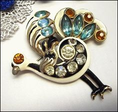 Art Deco Peacock Pin RARE Crystal Brooch Vintage 1940s Jewelry