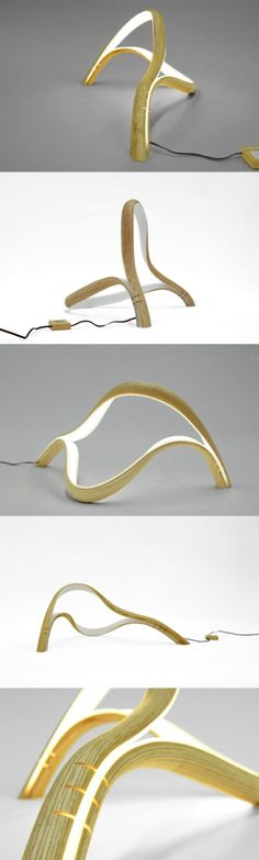Sculptural lamp #Design, #Lamp, #Wood
