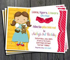 Wizard of Oz Birthday Invitation - FREE Thank You Card included