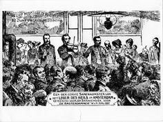 1887 - Eerste samenkomst in Amsterdam In de Gerard Doustraat in de volksbuurt De Pijp wordt op 8 mei 1887 de eerste evangelisatiebijeenkomst gehouden. Deze staat onder leiding van de Engelse kapitein Tyler, die daarbij geassisteerd wordt door luitenant Gerrit Govaars en - als vrijwilligers - de heer en mevrouw Schoch.