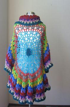 hippie shawls | CAPE SHAWL CROCHET Vest Multicolor Boho Hippie ... | Estilo al croch ...