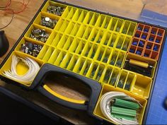 Tiny bins for the Stanley Removable Compartment case, made from a 3D printer