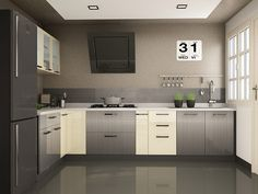 Buy Inclina L-Shaped Modular Kitchen from Capricoast. L Shaped Modular Kitchen, L Shaped Kitchen, Grey Kitchens, Double Vanity, Kitchen Cabinets, Shapes, Design, Home Decor, Gray Kitchens