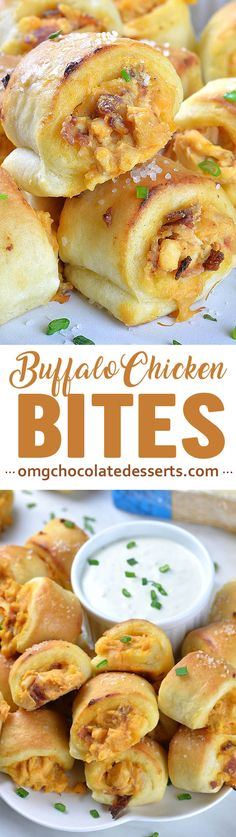 Buffalo Chicken Bites with Blue Cheese Dip are perfect appetizer for Super Bowl party food menu! These are delicious football snack for all buffalo chicken lovers!