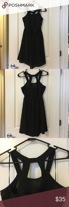 Little Black Dress Black mini dress with strappy back. Chiffon material over slip. Pockets at the waist. Express Dresses Mini