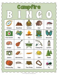 Camping Bingo Game - Camping Themed Activity by Drag Drop Learning Games Camping Bingo, Camping Games, Camping Theme, Camping Activities, Camping Crafts, Camping Equipment, Classroom Activities, Couples Camping, Nature Activities