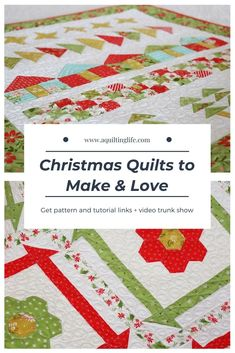 Christmas Quilts to Make & Love | Patterns & MoreA Quilting Life Christmas Sewing Projects, Christmas Quilt Patterns, Christmas Fabric, Christmas Quilting, Vintage Christmas, Christmas Ideas, Christmas Wall Hangings, How To Finish A Quilt, Book Quilt