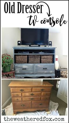 Turn an old dresser into a tv stand with these simple steps. #diyfurniturerepurpose