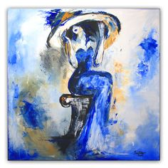 Zaghaft - Frau mit Hut, Malerei Blau Weiß, Gemälde Modern, Künstler Bild www.burgstallers-art.de/online-shop