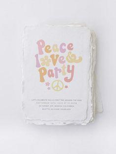 Hippie Birthday Party, Hippie Party, First Birthday Parties, Birthday Party Themes, Birthday Invitations, First Birthdays, 3rd Birthday, Birthday Ideas, Flower Power Party