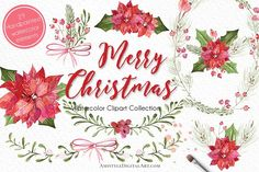 Watercolor Christmas clipart set - perfect for beautiful holiday Invitations, Greeting Card designs, Printable Planners and more