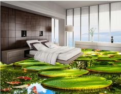 wallpaper waterproof 3d Lotus  bathroom for water wallpaper self-adhesive leaves lilies pvc floor 3D