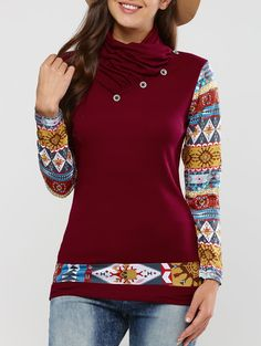 Casual Long Sleeve Tribal Print T Shirt in Claret | Sammydress.com