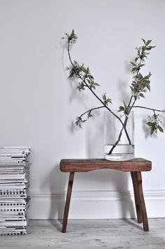 Simple, understated home decor inspiration. A wooden bench works as a surface for a cylindrical vase with freshly sprouted branches.