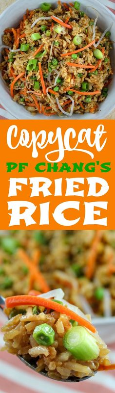 PF Chang's is one of my favorite places and I love their Fried Rice! It's really pretty easy to make and your whole family will love it! This recipe is ready in less than 30 minutes and you can add chicken to it to make it a meal. Pf Changs Fried Rice Recipe, Best Fried Rice Recipe, Chicken Fried Rice Recipe Easy, Fast Chicken Recipes, Homemade Chinese Food, Easy Chinese Recipes, Easy Rice Recipes, Asian Recipes, Healthy Cooking