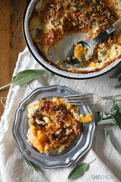 Sweet potato gratin with sage and smoked gouda