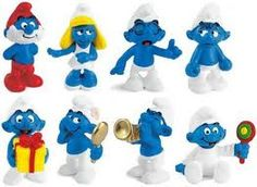 Smurfs. 80s vintage toys. i have about 200 of these miniatures still ... somewhere in the basement.