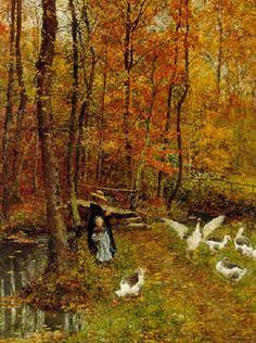 Tending the Geese 1878 - François-Marie Firmin, dit Firmin-Girard - (French : 1838-1921)
