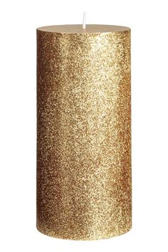 Large pillar candle - Gold/Glittery - Home All | H&M GB 1