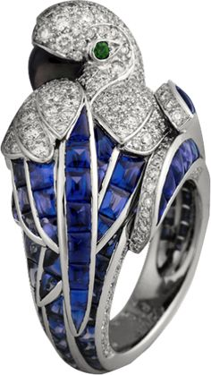 Cartier Fauna and Flora ring Platinum, sapphires, diamonds, emeralds, mother-of-pearl