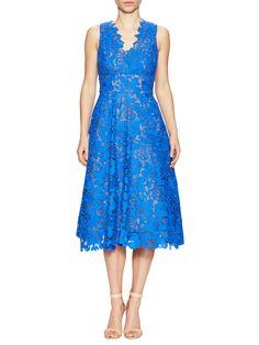 Monique Lhuillier Lace Tea-Length Dress